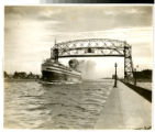 Aerial Lift Bridge: Canada Steamship Line Vessel Noronic Leaving Duluth Harbor, Duluth, Minnesota