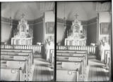 Old St. Raphael Church view of main altar from right pews, Springfield, Minnesota