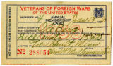 Veterans of Foreign Wars Annual Official Membership Card for Ole Berg