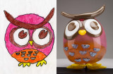 Olivia the Outstanding Owl, Kids Design Glass sculpture, Wyoming Area Public Library, Wyoming, Minnesota