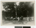 Flag raising ceremony, Lake Koronis Assembly Grounds, Paynesville, Minnesota