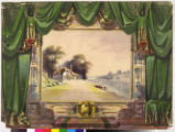 Image for Drop curtain with house on river bank scene.