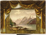 Image for Drop curtain with framed mountain with cabin on lake scene painted on watercolor paper.