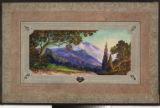 Image for Drop curtain with framed mountains.