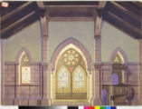 Image for Cathedral interior backdrop with light streaming through stained glass windows.