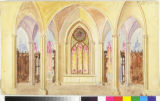 Image for Cathedral interior with translucent rose window.