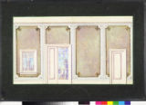Image for Interior drop with light molding, multicolored panels and a French door.