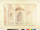 Image for Cathedral interior with three stained glass windows.