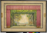 Image for Drop curtain with wine colored draperies and a framed landscape composition.