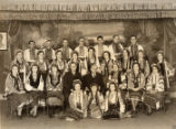 Image for Ukrainian Twin Cities Folk Ballet posing on stage, with Alexander Granovsky